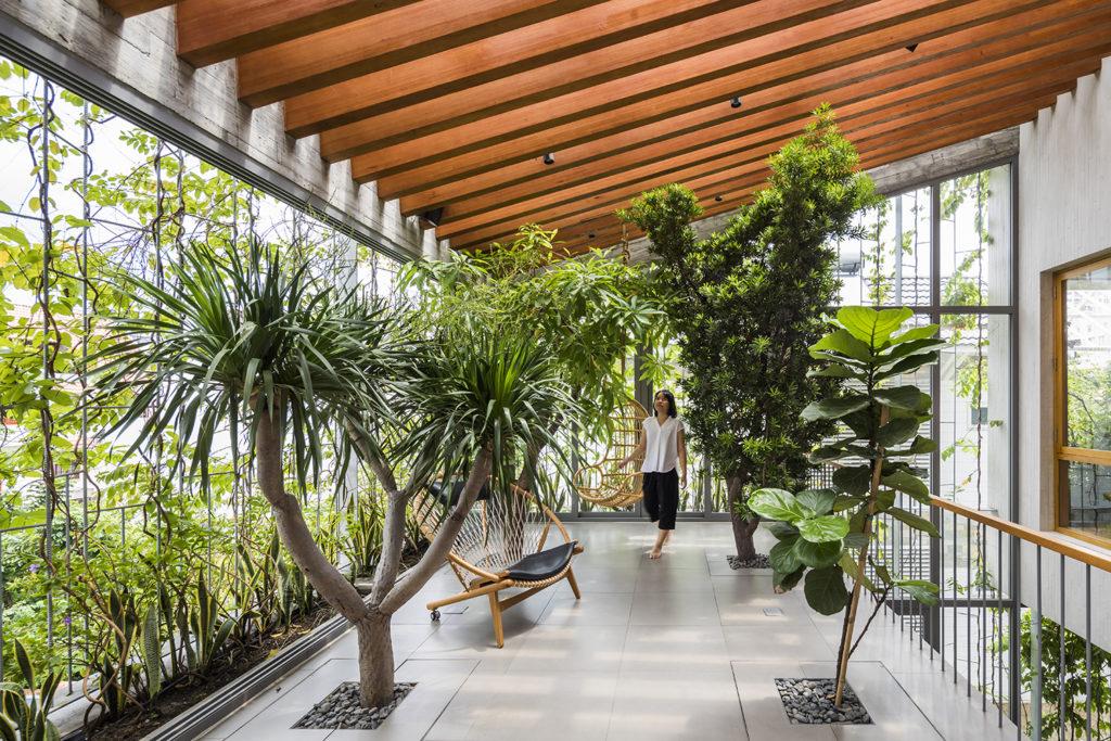 Ambiente projetado com design biofílico